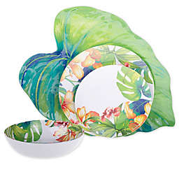 Tropical Palm Melamine Dinnerware and Serveware Collection