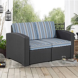 Relax-A-Lounger San Bruno Outdoor Wicker Loveseat with Teal Cushion