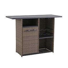 Barrington Outdoor Wicker Storage Bar in Natural Brown