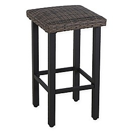 Barrington Wicker Padded Patio Bar Stools in Natural Brown (Set of 2)