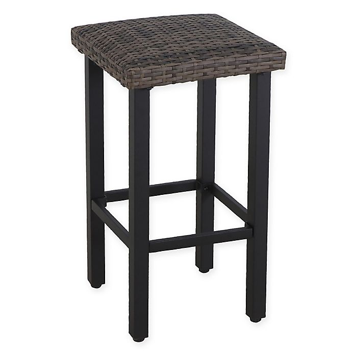 Alternate image 1 for Barrington Wicker Padded Patio Bar Stools in Natural Brown (Set of 2)