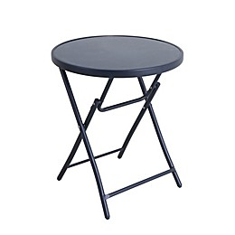 Folding 24-Inch Glass Bistro Table in Navy