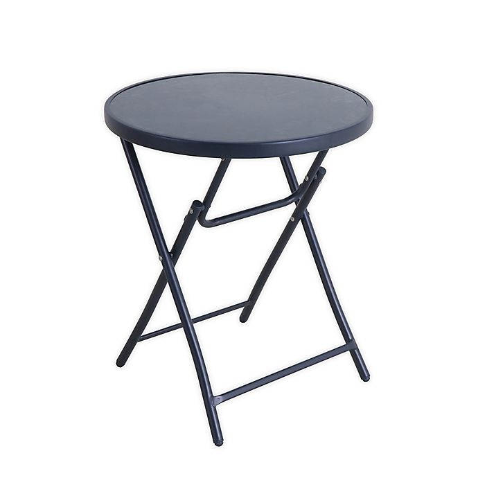 Alternate image 1 for Folding 24-Inch Glass Bistro Table in Navy