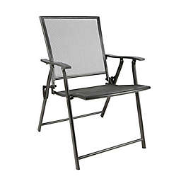 Folding Mesh Patio Chair in Black