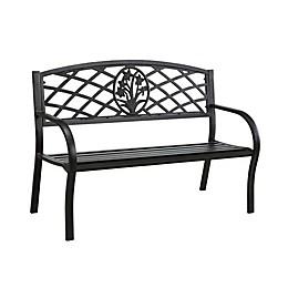 Slatted Seat Metal Outdoor Patio Bench in Black