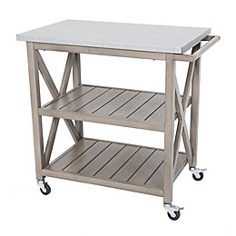 Galvanized Steel Top Indoor/Outdoor Bar Cart in Stone
