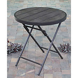Folding Faux Wood Patio Bistro Table in Brown
