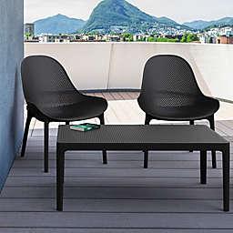 Sky Lounge 3-Piece Patio Furniture Set in Black