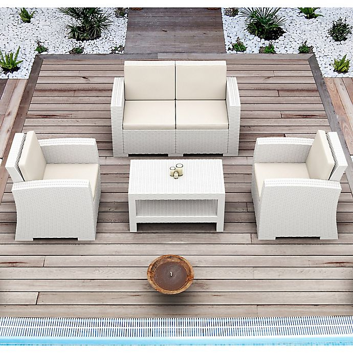 Alternate image 1 for Monaco Wickerlook 4-Piece Patio Furniture Set in White