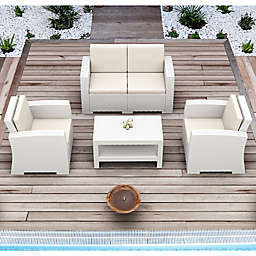 Monaco Wickerlook 4-Piece Patio Furniture Set in White