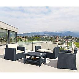 Monaco Wickerlook 4-Piece Patio Furniture Set in Dark Grey