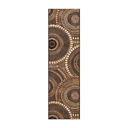 Liora Manné Marina Circles 2'3 x 7'6 Indoor/Outdoor Woven Runner Rug in Brown