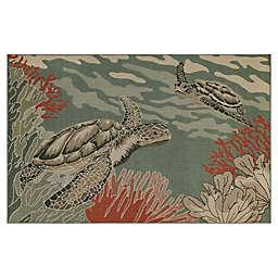 Liora Manne Riviera Sea Turtles Indoor/Outdoor Rug in Ocean