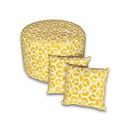 Printed 3-Piece Round Outdoor Pouf & Square Throw Pillow Set