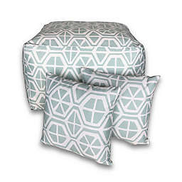 Striped 3-Piece Square Outdoor Pouf & Throw Pillow Set in Navy
