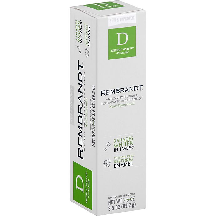 Alternate image 1 for Rembrandt® Deeply White Anticavity Fluoride Toothpaste with Peroxide in Peppermint