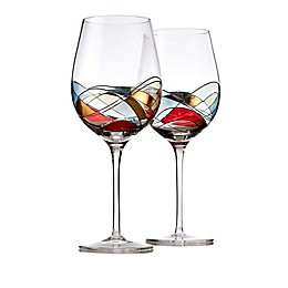 Classic Touch Bezrat Clear Wine Glasses (Set of 2)