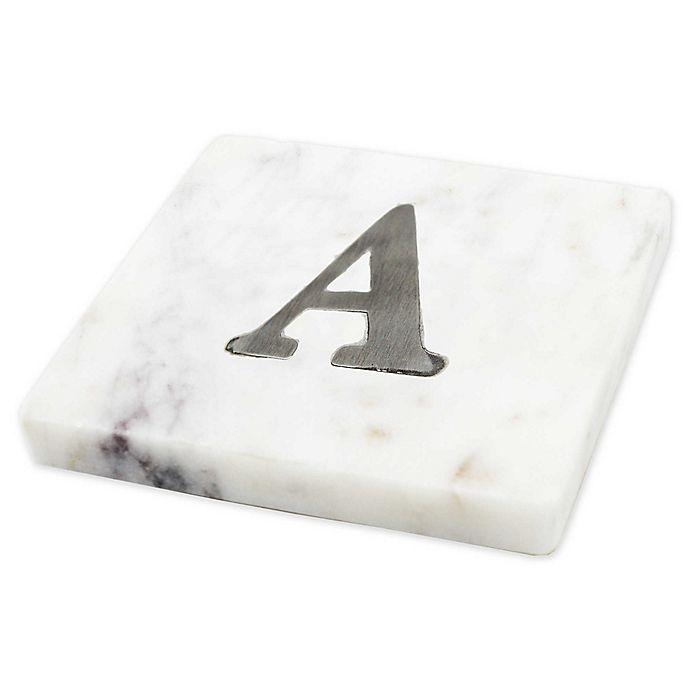 Alternate image 1 for Jodhpuri White marble coaster with Steel Monogram  (Set of 4)