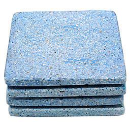 Jodhpuri Terrazzo Stone Square Coasters in Light Blue (Set of 4)