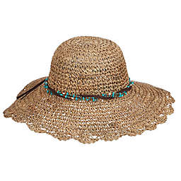 Crochet Seagrass Hat with Faux Suede Band Hat in Natural