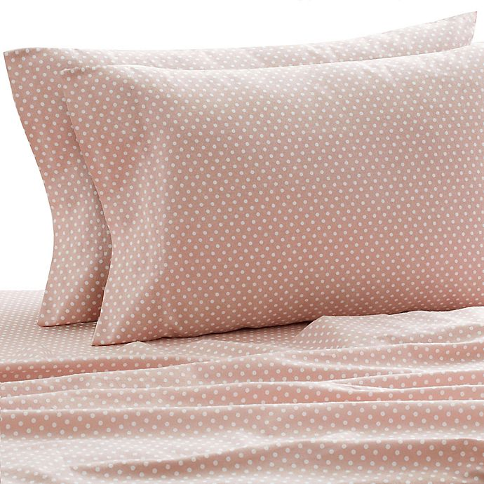 Alternate image 1 for Laundry by SHELLI SEGAL® 160 GSM Polka Dots Flannel Twin/Twin XL Sheet Set in Blush