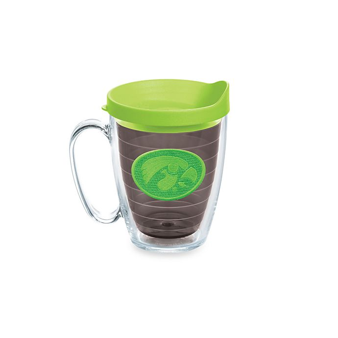 Alternate image 1 for Tervis® University of Iowa Hawkeyes 15 oz. Emblem Mug with Lid in Neon Green