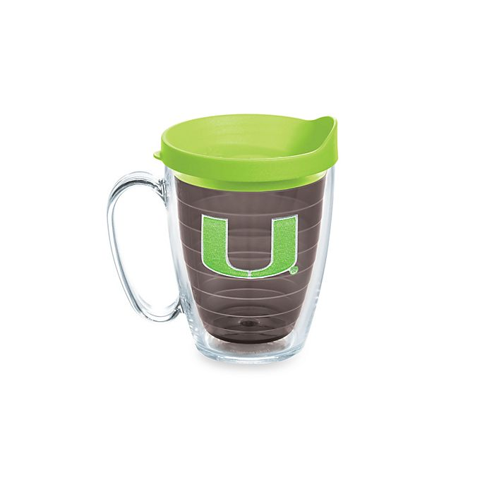 Alternate image 1 for Tervis® University of Miami Hurricanes 15-Ounce Colored Emblem Mug with Lid in Neon Green
