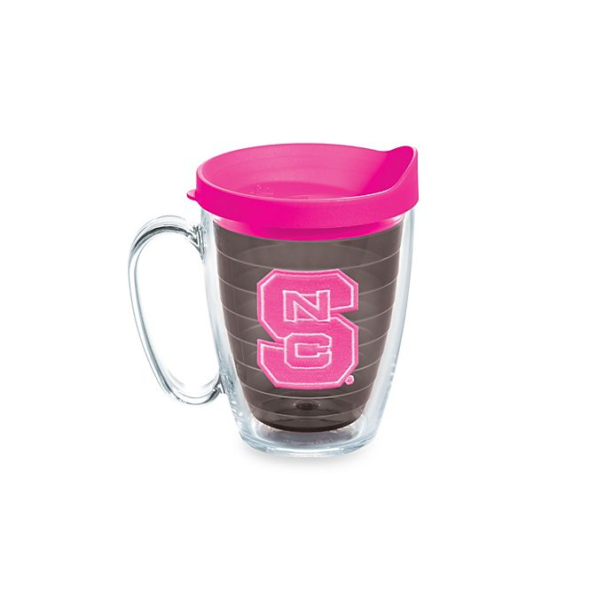 Alternate image 1 for Tervis® North Carolina State University Wolfpack 15 oz. Colored Emblem Mug with Lid in Neon Pink