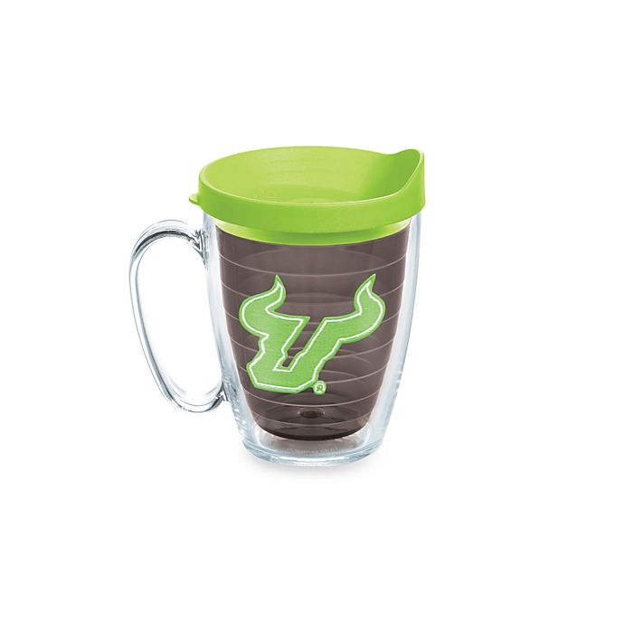 Alternate image 1 for Tervis® University of South Florida Bulls 15-Ounce Colored Emblem Mug with Lid in Neon Green