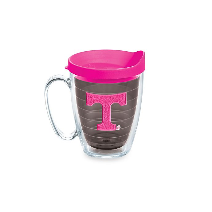 Alternate image 1 for Tervis® University of Tennessee Volunteers 15-Ounce Colored Emblem Mug with Lid in Neon Pink