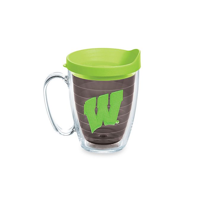 Alternate image 1 for Tervis® University of Wisconsin Badgers 15-Ounce Colored Emblem Mug with Lid in Neon Green
