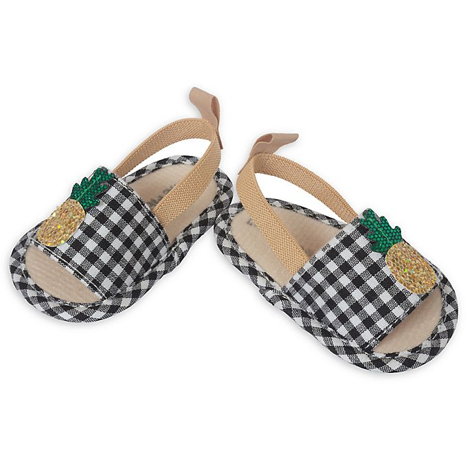 Alternate image 1 for Little Me® Gingham Pineapple Slip-On Sandal in Black/Gold