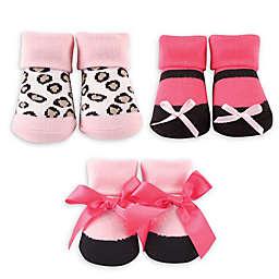 Luvable Friends® Size 0-9M 3-Pack Leopard Sock Gift Set in Black