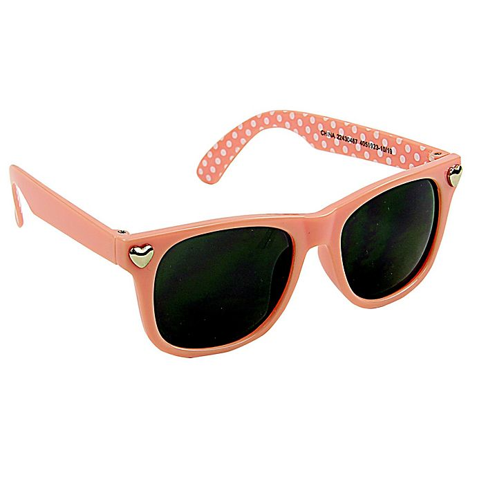 Alternate image 1 for On the Verge Hearts Sunglasses in Peach