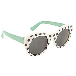 On the Verge Polka Dot Sunglasses in White/Mint