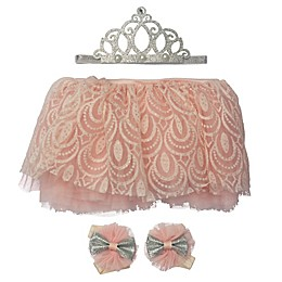 Elly & Emmy Newborn 4-Piece Tutu, Crown, and Pompom Bow Set in Ivory