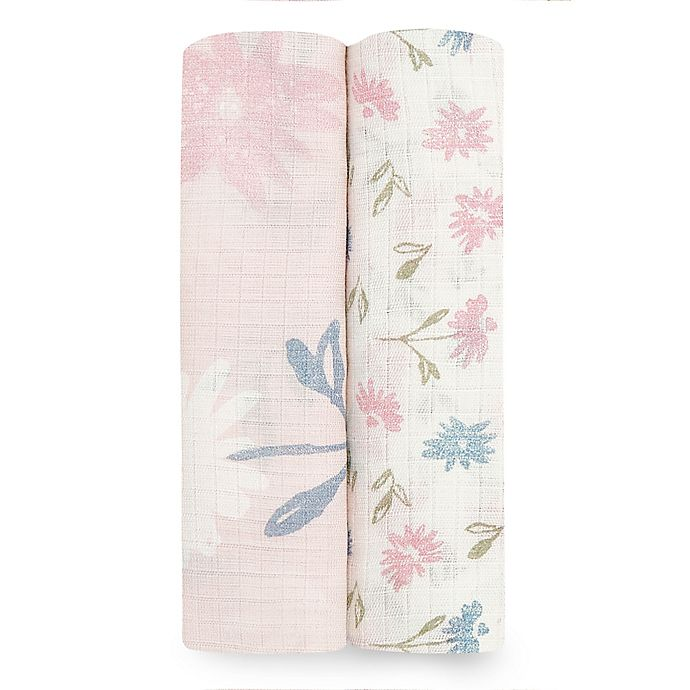 Alternate image 1 for aden + anais™ essentials 2-Pack Floral Viscose Swaddles in Pink