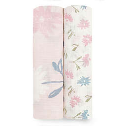 aden + anais™ essentials 2-Pack Floral Viscose Swaddles in Pink