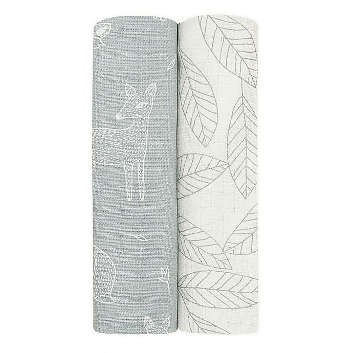 Alternate image 1 for aden + anais™ essentials 2-Pack Woodsy Viscose Swaddles in Grey