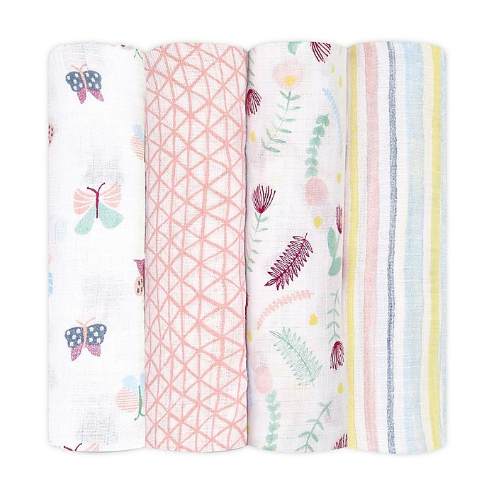 Alternate image 1 for aden + anais™ essentials 4-Pack Floral Cotton Muslin Swaddles in Pink