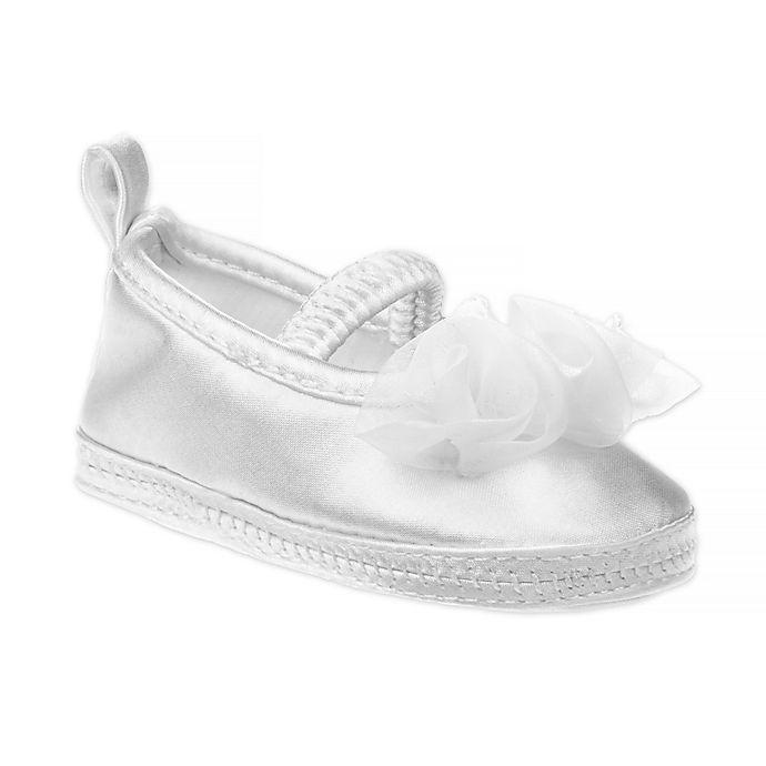 Alternate image 1 for Laura Ashley® Ballet Rosette Christening Shoe in White