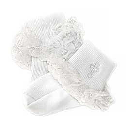 Petalia Ruffle Cross Christening Socks in White