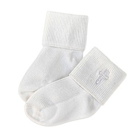 Joseph Allen Embroidered Cross Christening Socks in White