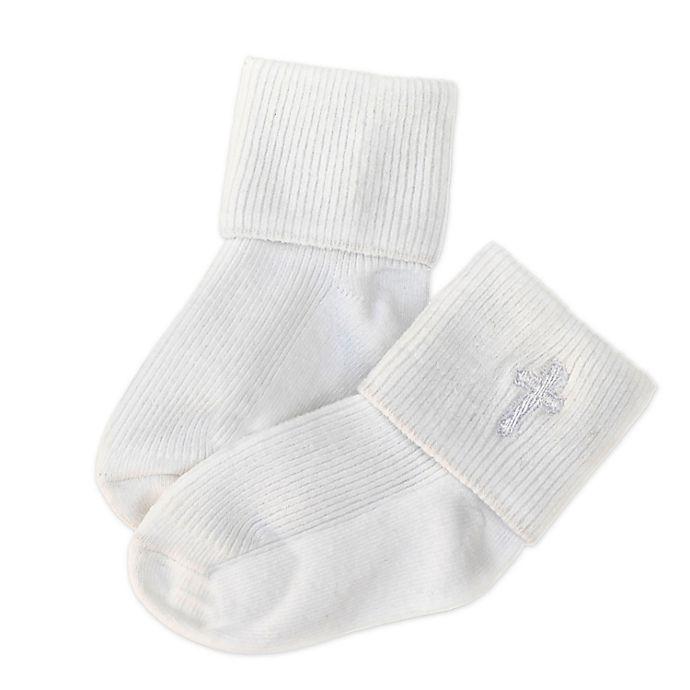 Alternate image 1 for Joseph Allen Embroidered Cross Christening Socks in White