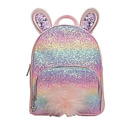 OMG Accessories Rainbow Glitter Bunny Mini Backpack in Pink