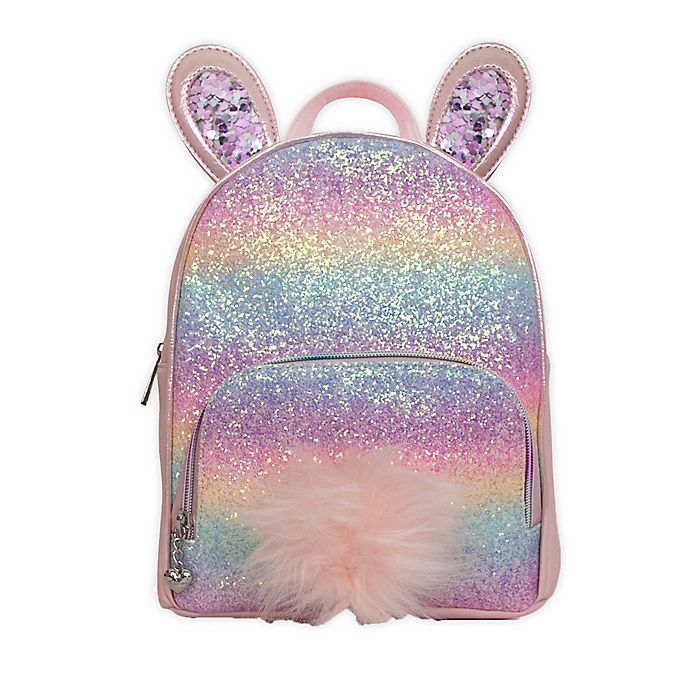 Alternate image 1 for OMG Accessories Rainbow Glitter Bunny Mini Backpack in Pink