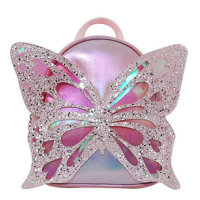 Alternate image 1 for OMG Accessories Glitter Butterfly Mini Backpack in Pink