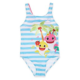 Baby Shark Printed One-Piece Swimsuit in Blue