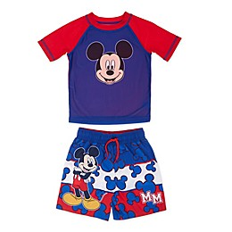 Disney® Mickey Mouse Toddler 2-Piece Rashguard and Swim Trunk Set in Blue
