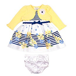 Nanette Baby® 2-Piece Shantung Dress and Knit Shrug Set in Yellow
